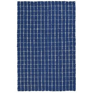 "Handmade Jute Eastbay Navy & Ivory Checker Rug (20"" x 30"")"