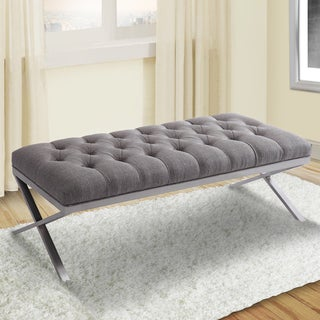Armen Living Milo Bench in Brushed Steel finish with Grey Fabric Upholstery