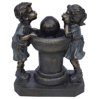 13-inch Two Bronze Kids Drinking Water Tabletop Fountain