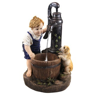 Alpine Boy and Dog Fetching Water Garden Fountain w/ LED Light, 26 Inch Tall
