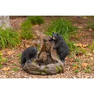 Alpine Bears Climbing a Rock Waterfall Fountain w/ LED Light, 24 Inch Tall
