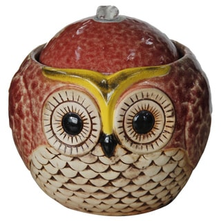 7-inch Ceramic Owl Tabletop Fountain