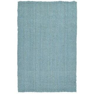 Handmade Jute Eastbay Light Blue Chevron Rug (8'0 x 10'0)
