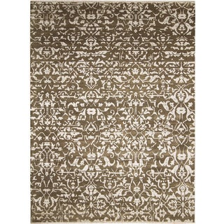 Fine Modern Naveed Brown Hand-knotted Rug (9' x 12')
