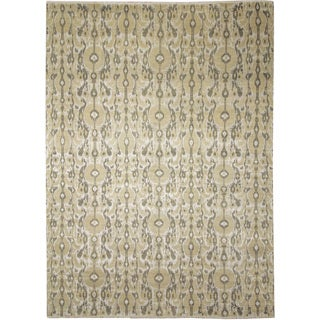 Fine Ikat Marouane Beige Hand-knotted Rug (9'10 x 14')