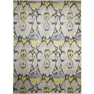 Fine Ikat Sam Beige Hand-knotted Rug (9'1 x 12')