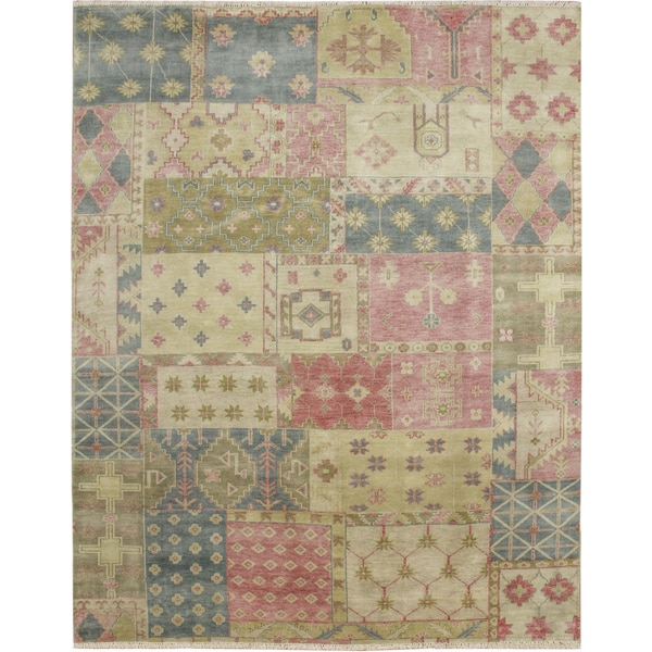 Indo Modern Tabor Beige Hand-knotted Rug (8' x 10') - 8' x 10'