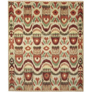 Fine Ikat Ines Green Hand-knotted Rug (8'3 x 10')