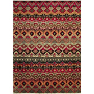 Fine Ikat Bahman Red Hand-knotted Rug (9'2 x 12'1)