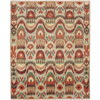 Fine Ikat Badr Green Hand-knotted Rug (8'2 x 10'2)