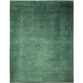 Overdyed Oushak Adam Teal Hand-knotted Rug (11'10 x 14'9)