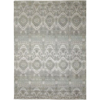 Fine Ikat Payam Green Hand-knotted Rug (8'10 x 11'10)