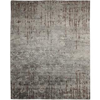 Fine Art Silk Shideh Grey Hand-knotted Rug (7'10 x 10')