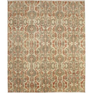 Fine Ikat Meryem Beige Hand-knotted Rug (8' x 9'10)