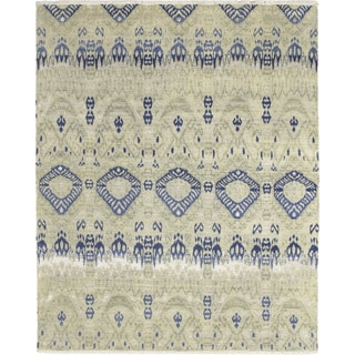 Fine Ikat Ouissal Green Hand-knotted Rug (7'10 x 9'10)