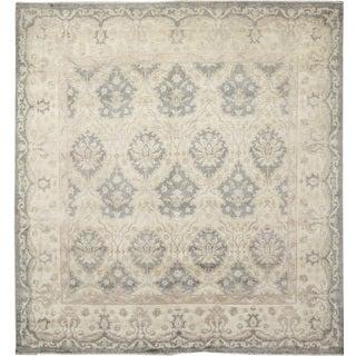 Silverwashed Peshawar Sarvinoz Grey Hand-knotted Rug (8'10 x 9'1)