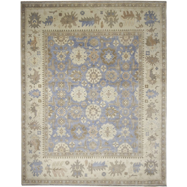 Indo Oushak Chaimae Blue Hand-knotted Rug (11'8 x 15'2)