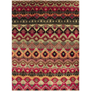 Fine Ikat Niloufar Red Hand-knotted Rug (8' x 10'3)