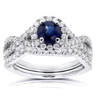 Annello by Kobelli 14k White Gold Round Sapphire and 3/4ct TDW Halo Diamond Crisscross 2-piece Brida