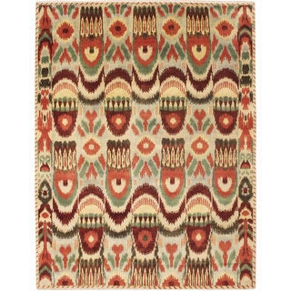 Fine Ikat Abdessamad Green Hand-knotted Rug (8'3 x 10'2)