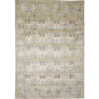 Indo Oushak Anouar Blue Hand-knotted Rug (9'8 x 14')