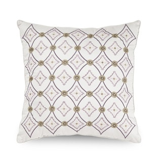 Downton Abbey Crawley Geometric Embroidered Decorative Throw Pillow