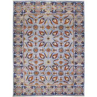 Fine Choubi Bahadur Blue Hand-knotted Rug (9'1 x 12'2)