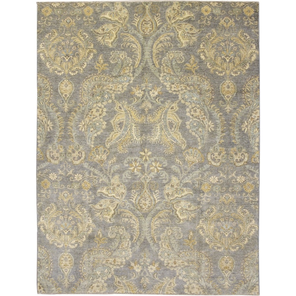 Fine Peshawar Soufiane Blue Hand-knotted Rug (7'10 x 10'2)