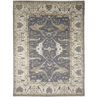 Oushak Yousra Grey Hand-knotted Rug (8'6 x 11'9)