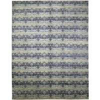 Fine Oushak Jaleh Blue Hand-knotted Rug (10'1 x 14')