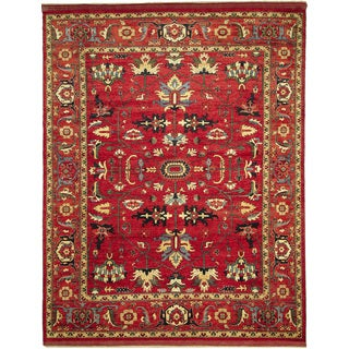 Super Kazak Kaoutar Red Hand-knotted Rug (9'1 x 11'3)