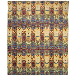 Fine Oushak Kirill Green Hand-knotted Rug (8' x 9'8)