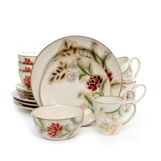 16 Piece Dinnerware Set with Floral Design