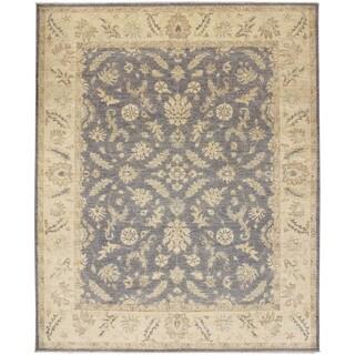 Silverwashed Peshawar Akmaral Grey Hand-knotted Rug (7'10 x 9'7)
