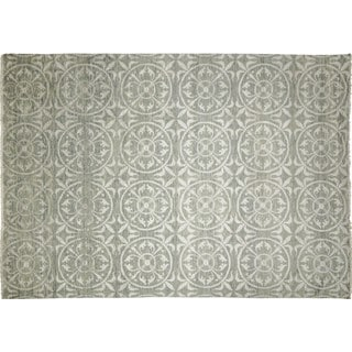 Fine Oushak Yara Green Hand-knotted Rug (10' x 13'7)