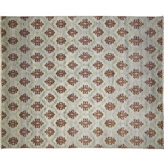 Fine Oushak Shireen Purple Hand-knotted Rug (9'1 x 12')