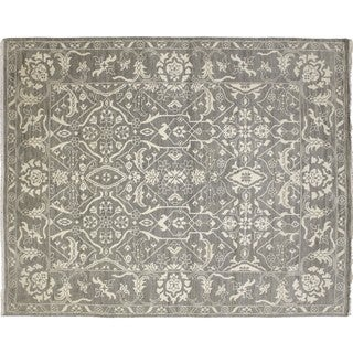 Fine Oushak Fatima Grey Hand-knotted Rug (8' x 9'9)