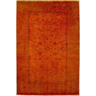 Fine Oushak Faridun Orange Hand-knotted Rug (6'1 x 9'1)