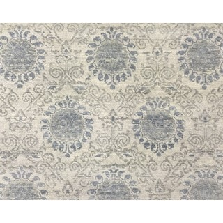 Fine Oushak Fati Grey Hand-knotted Rug (8' x 10'2)