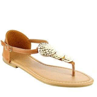 Spirit Moda FB44 Women's Metallic Ankle Strap T-strap Vamp Flat Sandals