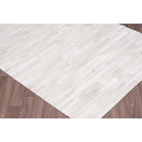 White Hand-stitched Stripe Cow Hide Leather Rug - 5' x 8'