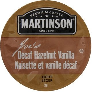 Martinson Coffee Joe'S Hazelnut Vanilla Decaf K-Cup Portion Pack for Keurig Brewers