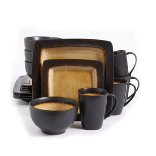 16 Piece Dinnerware Set in Black and Amber