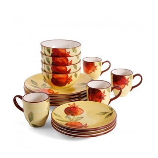 16 Piece Dinnerware Set with Pomegranate Design
