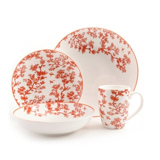 4 Piece Place Setting with Florence Broadhurst's The Cranes Design in Coral