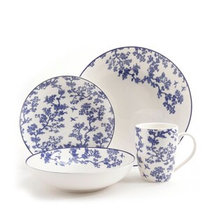 4 Piece Place Setting Inspired by Florence Broadhurst's The Cranes in Blue