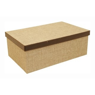 Burlap Retangule Box with Lid, with Brown Faux Leather Trim and Brown Stitching (Set of 2)