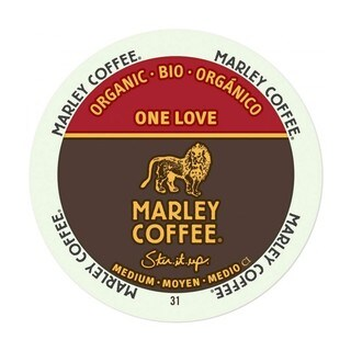 Marley Coffee One Love Medium Organic K-Cup Portion Pack for Keurig Brewers