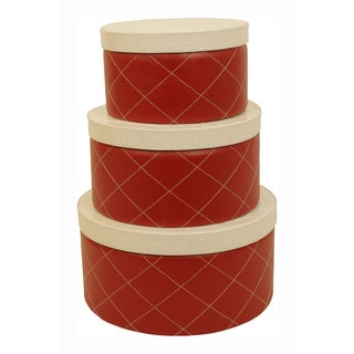 Red Round Stacking Boxes (Set of 3)