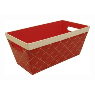 Red Quilted Tray with White Trim (Set of 3)